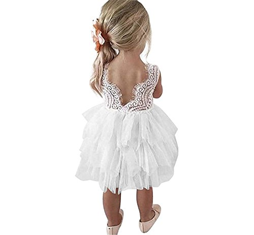 Toddler Baby Flower Girls Princess Tulle Dress Lace Backless Tutu A-line Beaded Party Dresses White