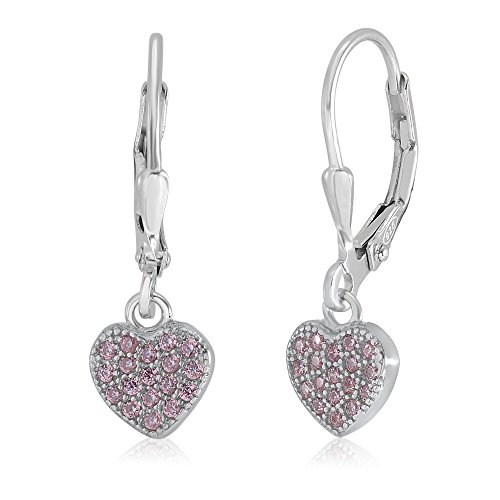 UNICORNJ Children's Tweens Sterling Silver 925 Pink Cubic Zirconia Pave Heart Dangle Leverback Earrings Italy