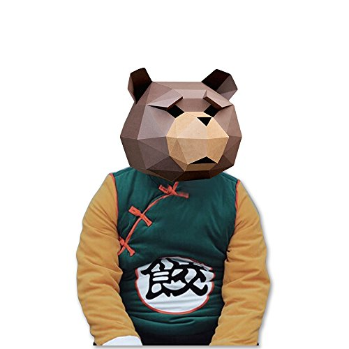 Unique Diy Costumes Halloween (3D Paper Mask Animal Head Molds DIY Halloween Party Costume Cosplay Facial Paper-craft Kit (Teddy bear))