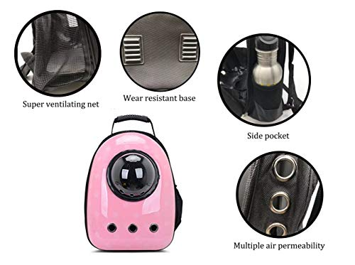ANXUAN Portable Travel Airline Approved Pet Carrier Backpack, Pet Bubble Traveler Knapsack Multiple Air Vents Waterproof Lightweight Handbag for Cats Small Dogs & Petite Animals (Pink Wave Point)