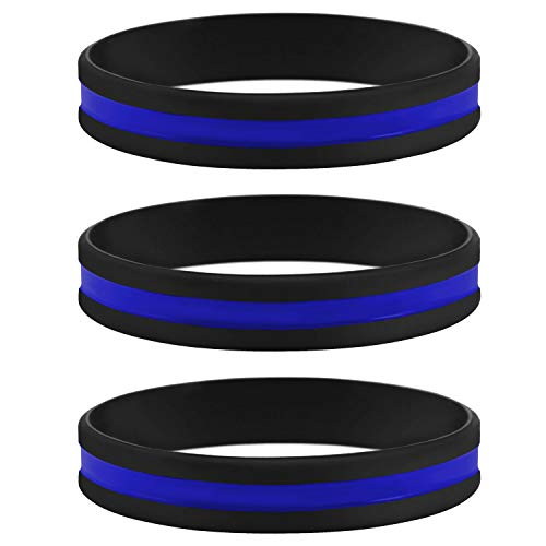 Sainstone Thin Blue Line Bracelet, 3 Pack of Silicone Rubber USA Wristband Band Set - Support Law Enforcement for Policeman's Prayer Gifts Accessories for Police Officers Cops (3 -