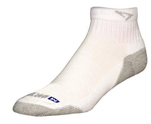 DryMax Run 1/4 Crew Low, White/Gray, W5-7 / M3.5-5.5, 2 Pack by Drymax