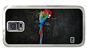 Hipster Samsung Galaxy S5 Cases waterproof Parrot Splash Art PC Transparent for Samsung S5