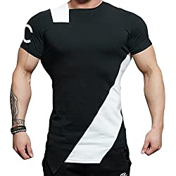 EU Men's Fitness Gym Bodybuilding Short Sleeve Muscle Workout T-shirt Black White Medium