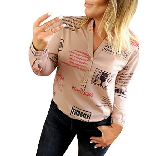 FEITONG Tank Tops for Women, Women V Neck Letters Printing Button Long Sleeve T-Shirt Tops -