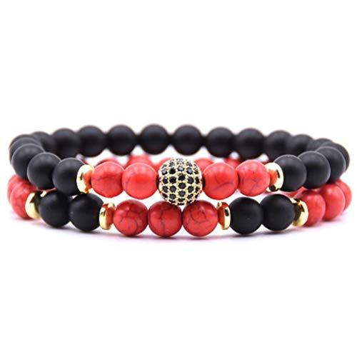 GIOANNI 2PCS Matte Onyx Beads and Cz Micro Pave Brass Beads Men Women Stone Bracelet Set (Red)