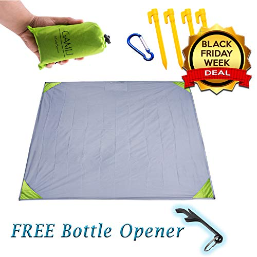Pocket Blanket for Beach Festival - Camping Hiking Compact Size 55x60 Fit 4 People - Sand and Waterproof Puncture Resistance with Corner Pocket, Loops, 4 Stakes, Secure Pocket with Zipper (Green)