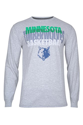 fan products of NBA Men's Minnesota Timberwolves T-Shirt Supreme Long Sleeve Pullover Tee Shirt, XX-Large, Gray