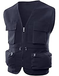 Mens Casual Loose Fit Work Utility Hunting, Fishing Vest With Multi Pockets