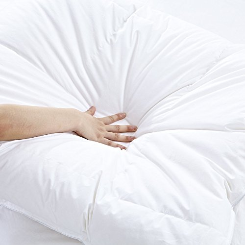 White Goose Down Comforters King/Cal King Size 600 Thread Count 100% Cotton 700 + Fill Power Shell Down Proof-Solid White Hypo-allergenic with Corner Tabs by SHEONE (Image #3)