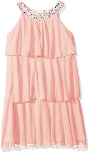 My Michelle Big Girls' Tiered Dress with Jeweled Neckline