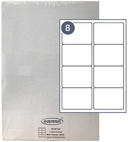 Inerra Etiquetas Blanco - 8 por A4 Folio - Impresora Dirección ...