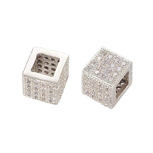 (NBEADS 10 Pcs Platinum Color Cube Brass Micro Pave Cubic Zirconia Beads Bracelet Connector Spacer Beads Loose Beads for Jewelry Making )