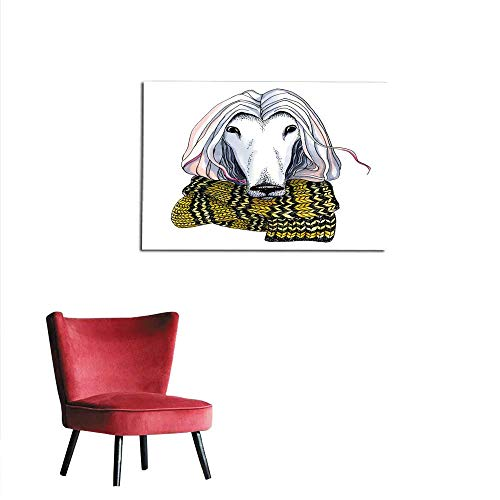 homehot Photo Wall Paper Graphic Pen dot Illustration Animal s Head Watercolor Dog s Head with Scarf Mural 36