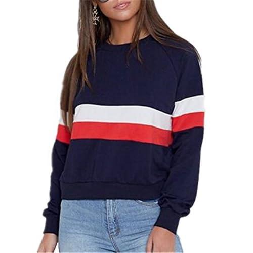 B/ásico para Mujer Easy Young Fashion Camiseta de Manga Larga Cuello Redondo