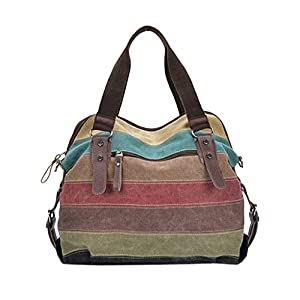 Gillberry Women Canvas Striped Crossbody Bags Vintage Contrast Tote Handbags (as picture)