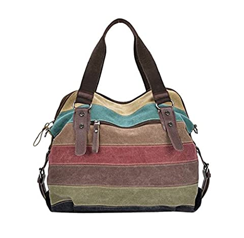 Gillberry Women Canvas Striped Crossbody Bags Vintage Contrast Tote Handbags (as picture) (Cvs Hours)