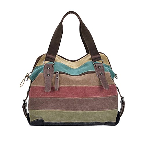 Gillberry Women Canvas Striped Crossbody Bags Vintage Contrast Tote Handbags (as picture) ()