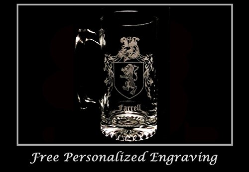 Farrell Irish Family Coat of Arms 27oz Beer Stein: Free Shipping & Personalized Engraving, Family Crest, Etched Clan - History Beer Stein