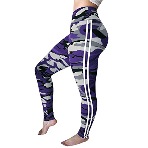 (TOPUNDER Workout Leggings for Women Fitness Sports Gym Running Yoga Athletic Pants Purple)
