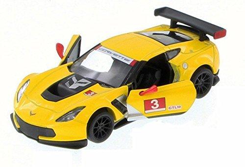 Chevy Corvette C7 Race Car #3, Yellow w/ Decals - Kinsmart 5397D - 1/36 Scale Diecast Model Toy Car (Brand New but NO BOX) Corvette Race Car