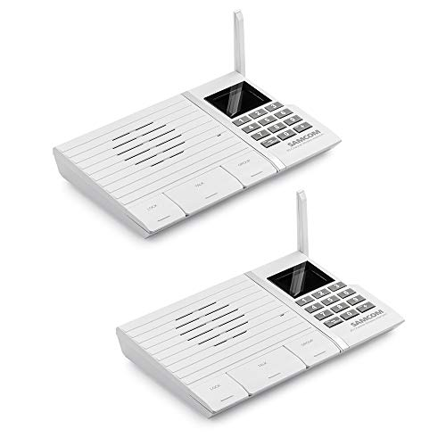 Samcom 20-Channel Digital FM Wireless Intercom System for Home and Office White Pack of 2 by SAMCOM