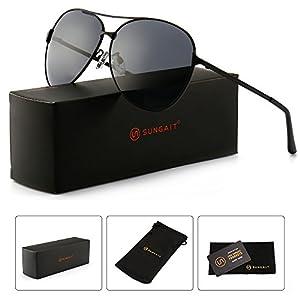 SUNGAIT Huge Oversized Aviator Sunglasses for Men Women Polarized UV400 Sun Glasses Classic Metal Frame (Black Frame/Grey Lens) 8009 HKH
