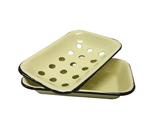- Vintage Style Metal Enamel Soap Dish w/ Drainage Holes - Cream