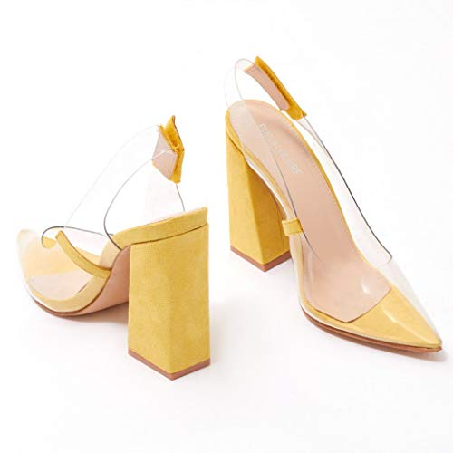 Public Desire Womens Lure Perspex Block Heels Court Shoes Yellow Faux Suede US 5 (UK 3 / EU 36) from Public Desire