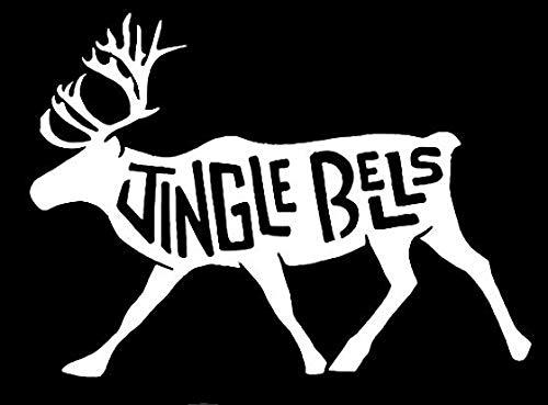 (YWS Vinyl Sticker Decal - Jingle Bells Moose - Sticker Laptop Car Truck Window Bumper Notebook Vinyl Decal SMA6341 )