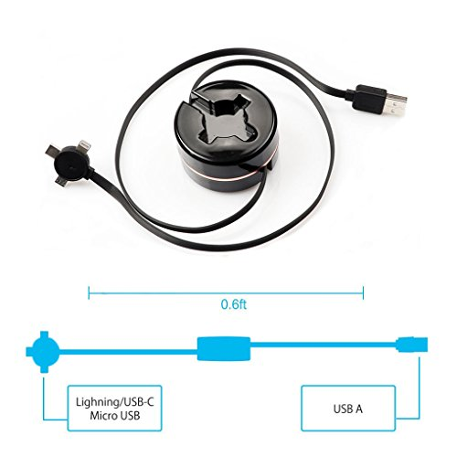 60%OFF Retractable Lightning Compatible 3 3ft Multi 3 in 1 USB