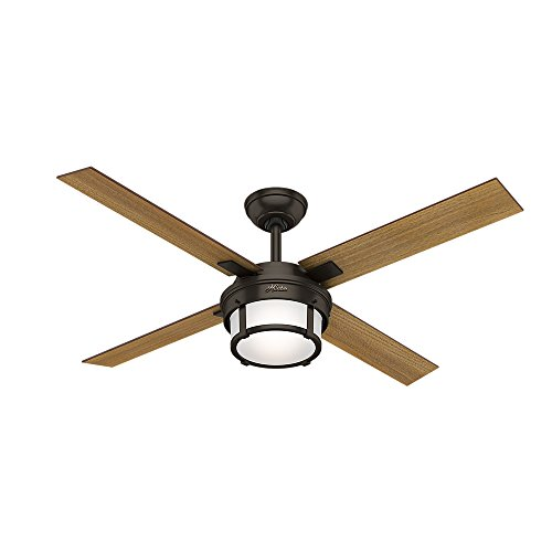Hunter 59317 Maybeck 52″ Ceiling Fan with Light with Handheld Remote, Large, Premier Bronze
