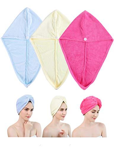 Ceyiya Hair Towel Wraps For Women - Quick Dry Hair Towel for Long Hair,Curly Hair and Afro Hair,Super Absorbent Microfiber Head Towel,Anti-Frizz 3 Pack