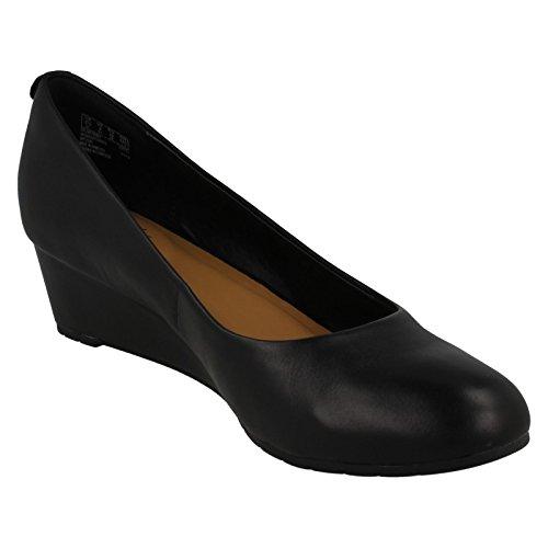 Clarks Vestir Mujer Zapatos Vendra Bloom En Piel Negro Tamaño 42