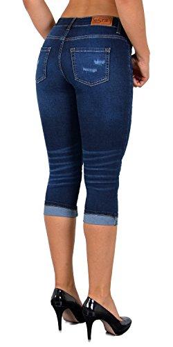 Pantacourt ESRA Jean Taille Capri Fonce J374 bleu Pantalon dechir Femme Grande Femmes Jeans J374 pour fxB4qrx