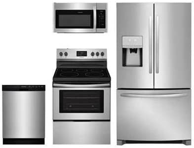 Frigidaire 4 Piece Kitchen Package FFSS2615TS 36Side by Side Refrigerator,FFEF3052TS 30Electric Range,FFMV1645TS 30Over the Range Microwave and FFCD2418US 24Built In Dishwasher in Stainless Steel