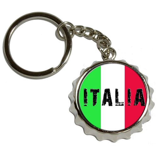 (Graphics and More Italia - Italy Italian Flag - Nickel Plated Metal Popcap Bottle Opener Keychain Key Ring)