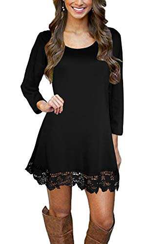 Afibi Women's Long Sleeve A-Line Lace Stitching Trim Casual Dress (Large, Black) (Jewelry To Wear With Lace Wedding Dress)