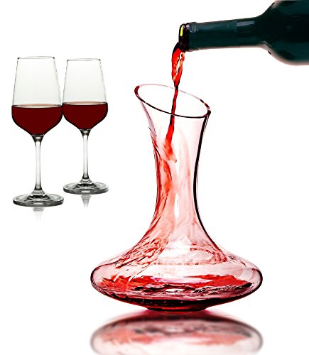 iBunny Wine Decanter, Hand Blown 100% Lead Free Crystal Clear Wine Decanter Set With 2 Cabernet Wine Glasses And Wine Carafe