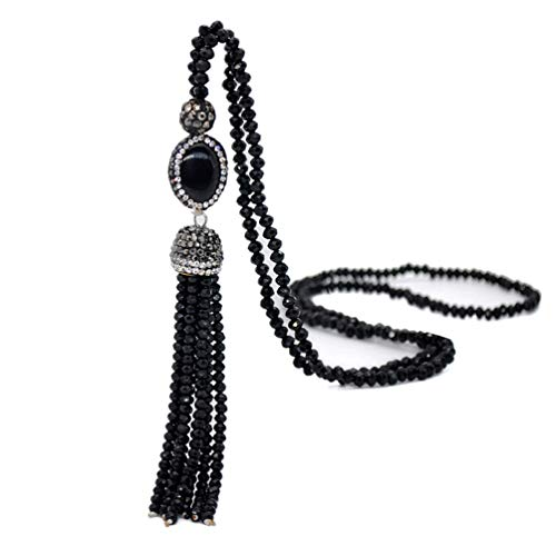 Bohemian Agate Long Strand Necklace Tassel Fringe Handmade Crystal Beads Chain Women Girls Black