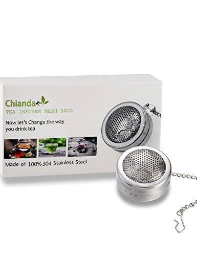 Chianda Loose Leaf Tea Infuser Tea Mesh Ball Food Grade Stainless Steel Strainer Perfect Loose Tea Steeper Tea Filters Tea Diffuser For Loose Leaf Tea,1.6 inch