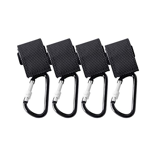 Baby Stroller Hooks for Shopping Bags with Safety Lock| Organizer Clip-Hanger for Mommy, Anti-Slip Strap, Heavy Duty Load Capacity of 40kg| for Diaper Bags, Clothing, Purse, Groceries (4 Pack Black)