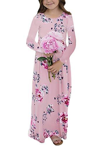 Acelitt Girl Spring Autumn Casual Loose Long Sleeve Bohemian Playwear Dresses Sundress Flower Floral Print Vintage Beach Boho Maxi Long Dress Pockets Pink Size 8 9 -