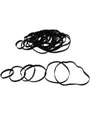 50 Pack 4mm Mixed Flat Cassette Tape Machine Belt 40-135mm Length Recorder Rubber Drive Belt A Variety of Size to Choose Black