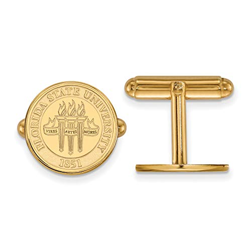 - Florida State University Seminoles School Crest Cuff Links Set in Gold Plated Sterling Silver 15x15mm