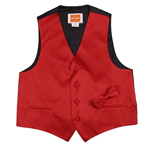 Children Solid Waistcoat Microfiber Creative For Wedding Boys Vest with Matching Bow Tie ,Red,Size 16A by Dan Smith