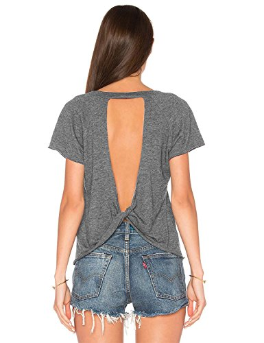Blooming Jelly Womens Sexy Backless Short Sleeve Top Back Knot Casual Shirt Tee  S  Grey