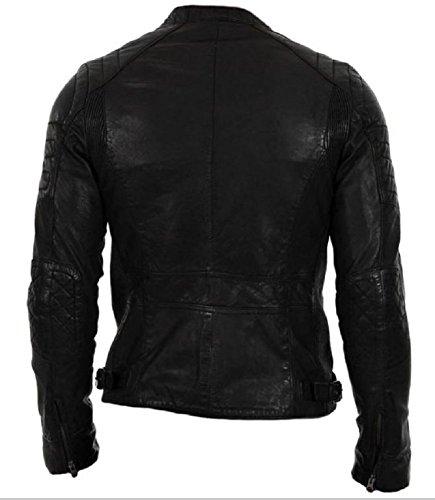 Leather para hombre tipo piel motero de Chaqueta Lamb Black de Classyak x1TOwPYzq