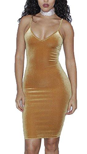 Stretch Tank Dress (Dasbayla Low V Neck Slim Fit Camisoles for women Tank Dress Bodycon Club Dresses L)
