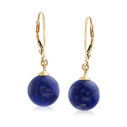 Ross-Simons 10mm Lapis Bead Drop Earrings in 14kt Yellow Gold